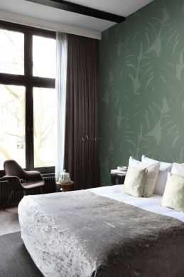 wall mural leaves with woven structure green
