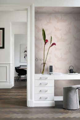 wallpaper crane birds antique pink