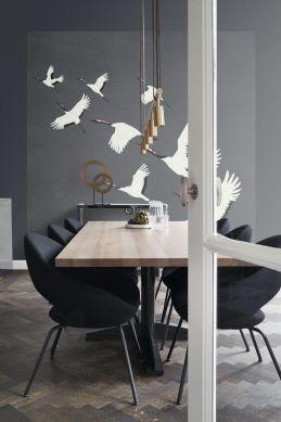 wall mural crane birds dark gray