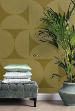 non-woven wallpaper XXL semicircles mustard green