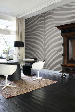 wall mural zebra stripes gray