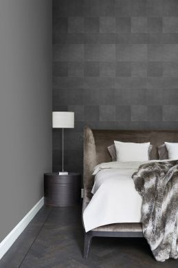 non-woven wallpaper XXL tile motif with leather look dark gray