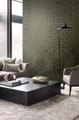 wall mural crocodile skin moss green