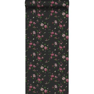 wallpaper flowers black and pink