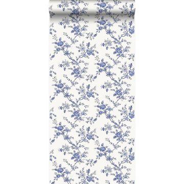 wallpaper flowers indigo blue