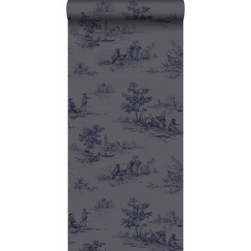 wallpaper toile de Jouy gray and blue