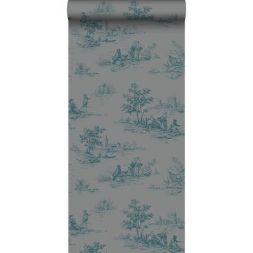 wallpaper toile de Jouy gray and turquoise