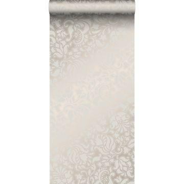wallpaper lace print silver