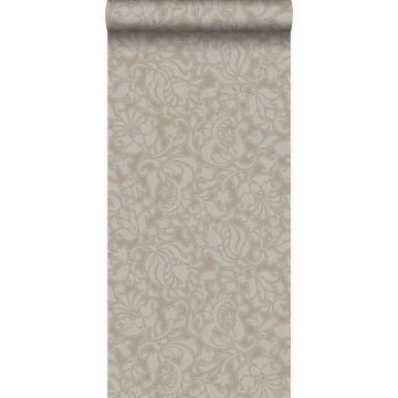 wallpaper lace print shiny bronze