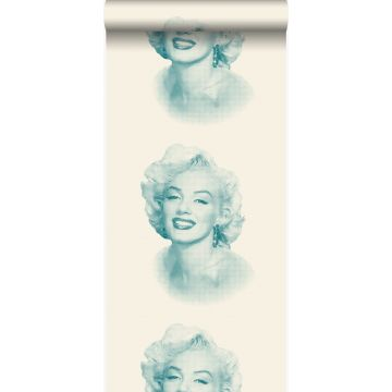 wallpaper Marilyn Monroe white and turquoise