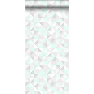 wallpaper triangles mint green, light warm gray, matt white and shiny emerald green