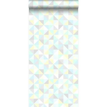 wallpaper triangles mint green, pastel yellow, pastel blue, light warm gray and shiny silver grey