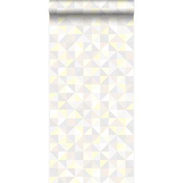 wallpaper triangles light cream beige, light warm gray, pastel yellow and shiny light beige