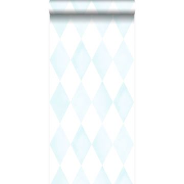 wallpaper rhombus motif pastel blue and matt white