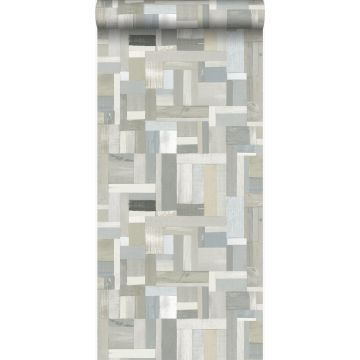 wallpaper scrap wood planks motif beige