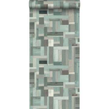 wallpaper scrap wood planks motif grayish green