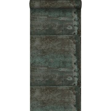 wallpaper large weathered rusty metal plates with rivets brown and light petrol blue