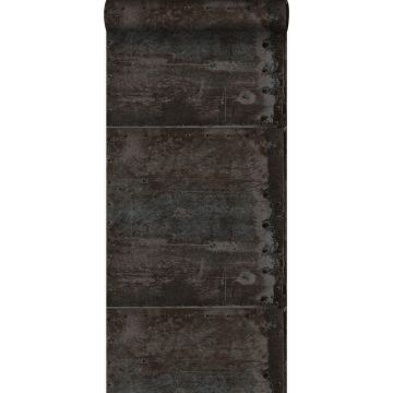wallpaper large weathered rusty metal plates with rivets black and shiny pearl