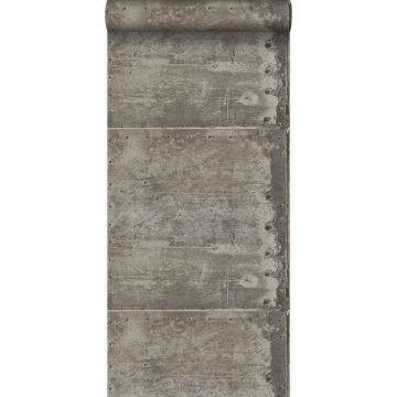 wallpaper large weathered rusty metal plates with rivets industrial gray