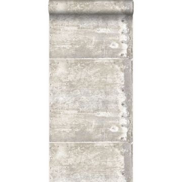 wallpaper large weathered rusty metal plates with rivets off-white