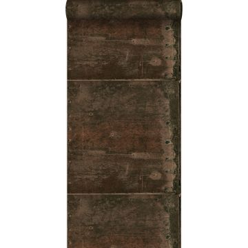 wallpaper large weathered rusty metal plates with rivets rust brown