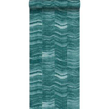 wallpaper zig zag stripes of layered marble teal