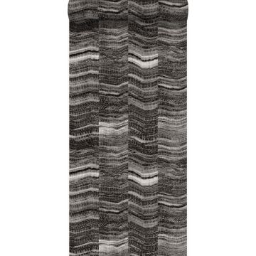 wallpaper zig zag stripes of layered marble black