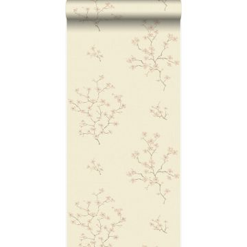 wallpaper blossom beige and pink