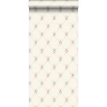 wallpaper button-tufted white and light gray