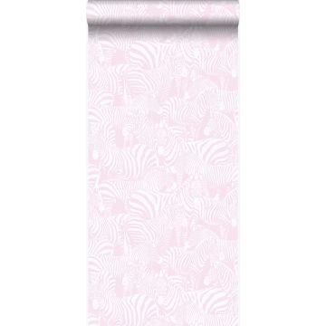 wallpaper zebras light pink