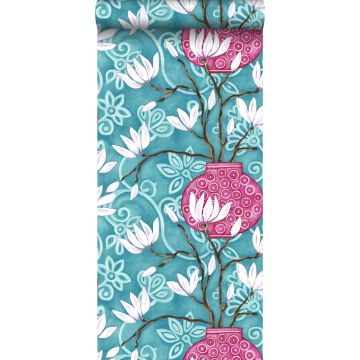 wallpaper magnolia turquoise and pink