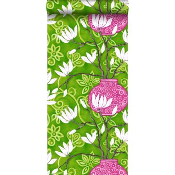 wallpaper magnolia green and pink
