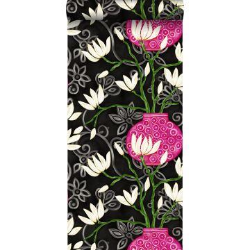 wallpaper magnolia black and pink