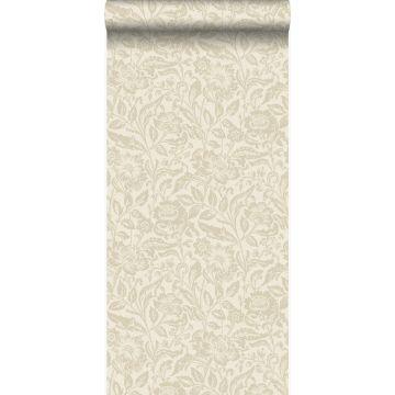 wallpaper flowers cream beige