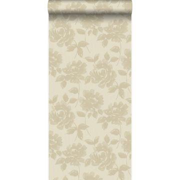 wallpaper roses warm beige