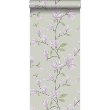 wallpaper magnolia teal and lilac purple