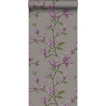 wallpaper magnolia taupe and eggplant purple