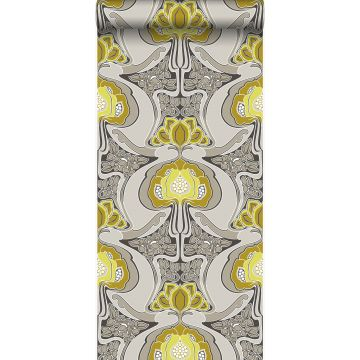 wallpaper Art Nouveau floral pattern mustard and gray