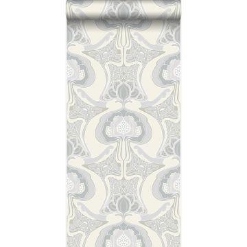 wallpaper Art Nouveau floral pattern beige