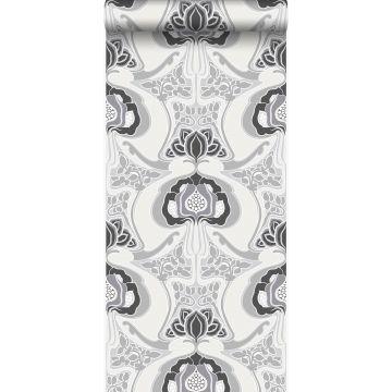 wallpaper Art Nouveau floral pattern black and gray