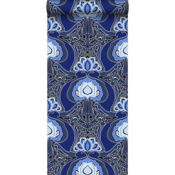 wallpaper Art Nouveau floral pattern royal blue