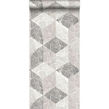 wallpaper 3D marble motif beige and taupe
