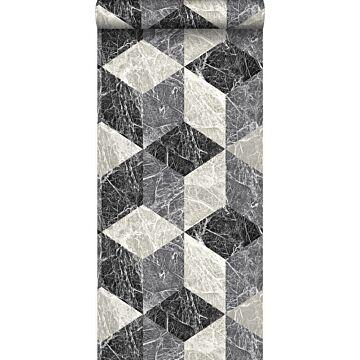 wallpaper 3D marble motif black and gray