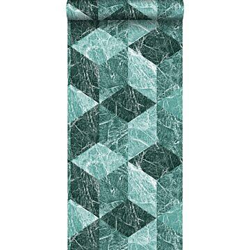 wallpaper 3D marble motif emerald green