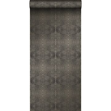 wallpaper animal skin black and shiny bronze