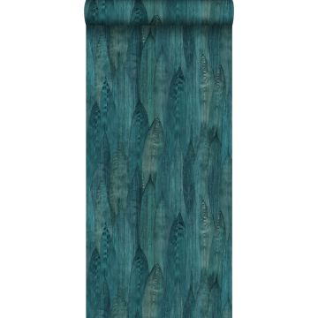 eco texture non-woven wallpaper leaves teal