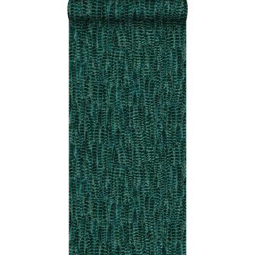 wallpaper feathers emerald green