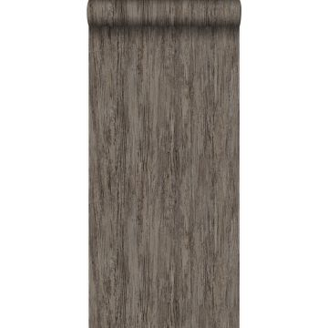 wallpaper wood effect dark taupe