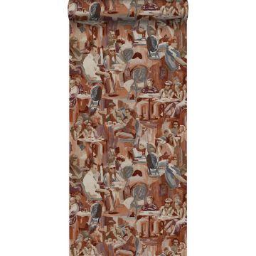 wallpaper figurative design rust brown
