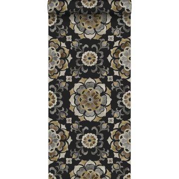 wallpaper suzani flowers black